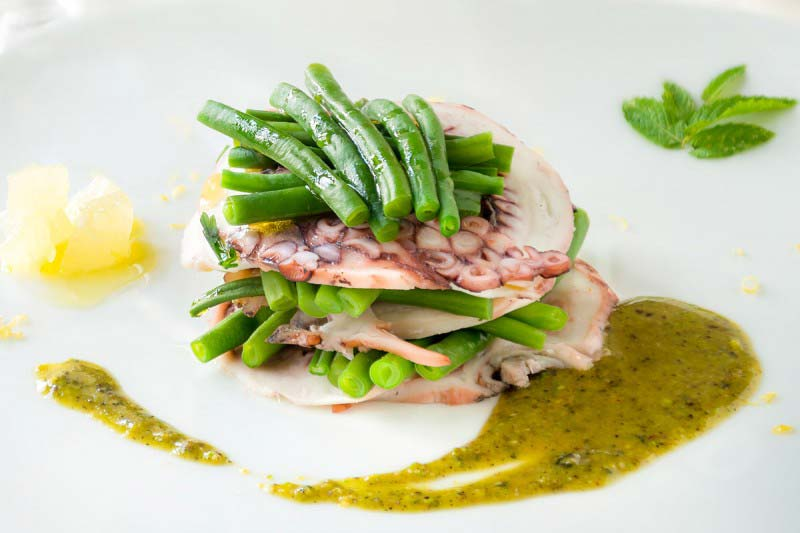 Octopus Millefeuille with pistachios and mint pesto - Boccanegra Florence Restaurant