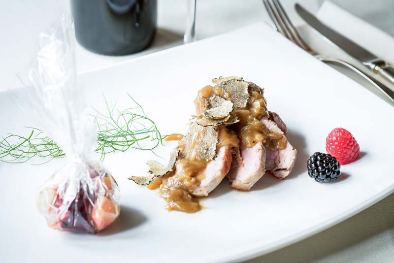Pork fillet with scallion and black truffle - Boccanegra Restaurant Florencewith baked red beet and potatoes ″cartoccio″