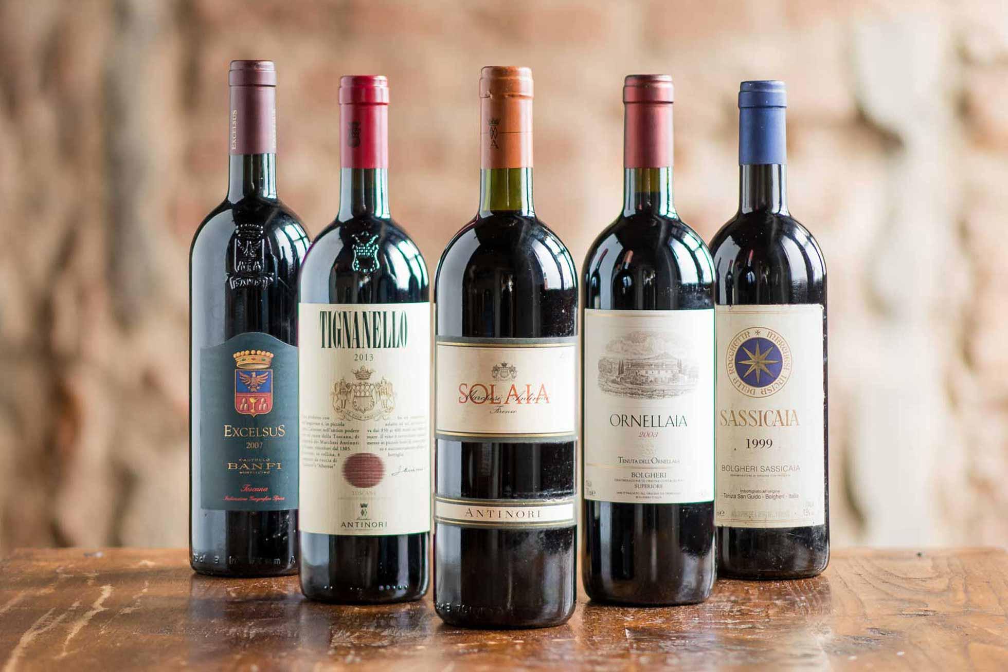 Super Tuscan wine bottles - Boccanegra Restaurant Florence