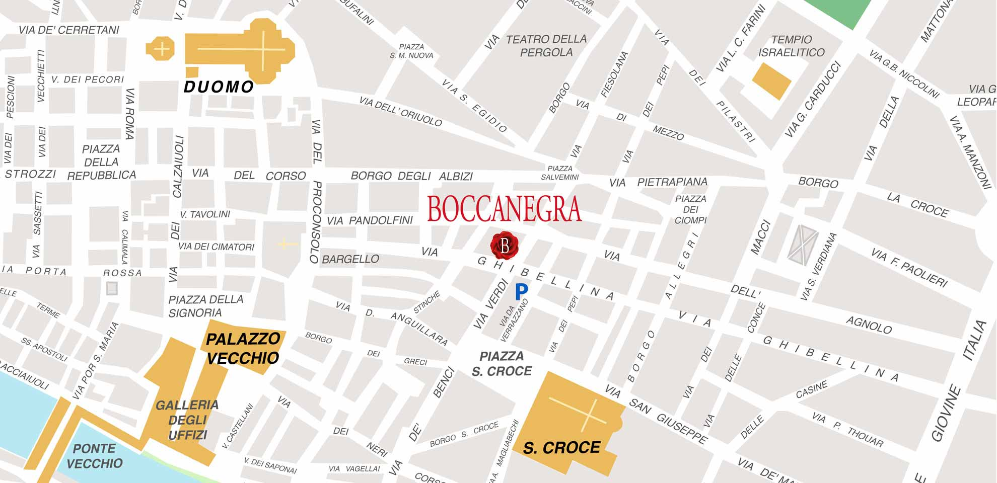 Boccanegra Florence Restaurant location map. Easy access by foot or by car. A garage is nearby the restaurant