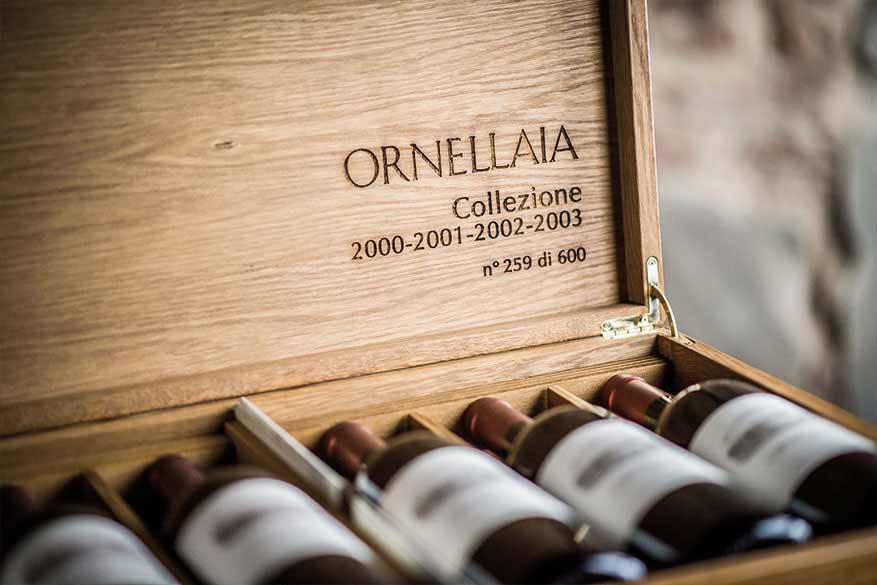 A collection of Ornellaia bottles from Boccanegra Cave