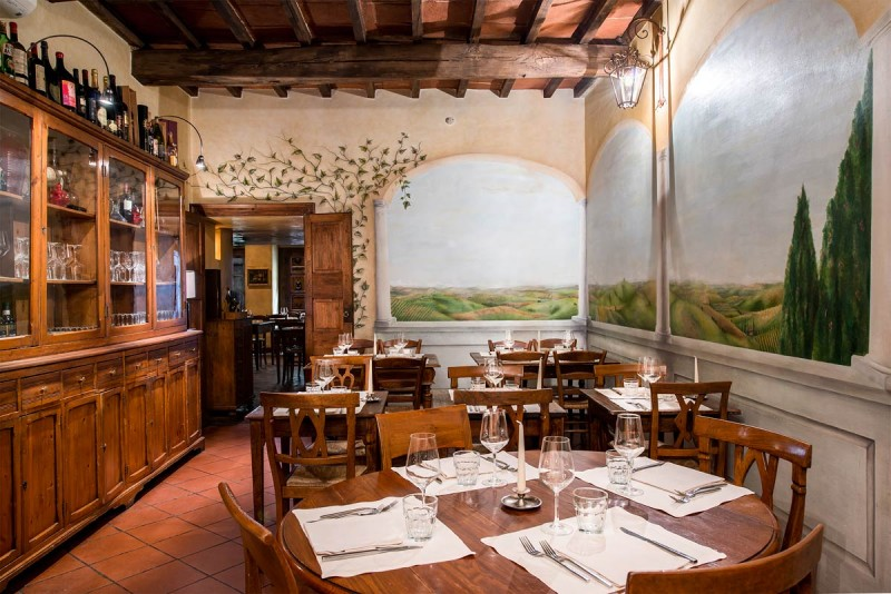 Boccanegra Restaurant Florence - the second dining area with frescoes