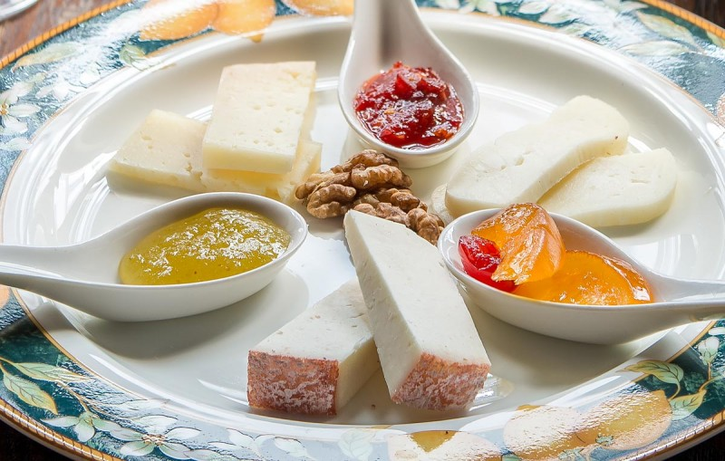 Pecorino cheeses served with mustard and jam at  Osteria Boccanegra Florence Italy
