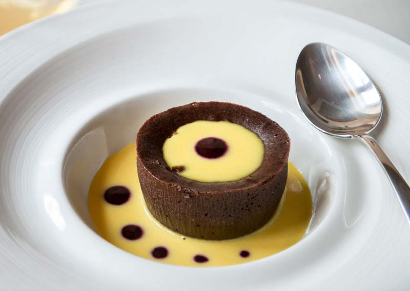 Chocolate Flan, one of the best loved desserts at Boccanegra Restaurant, Florence Italy