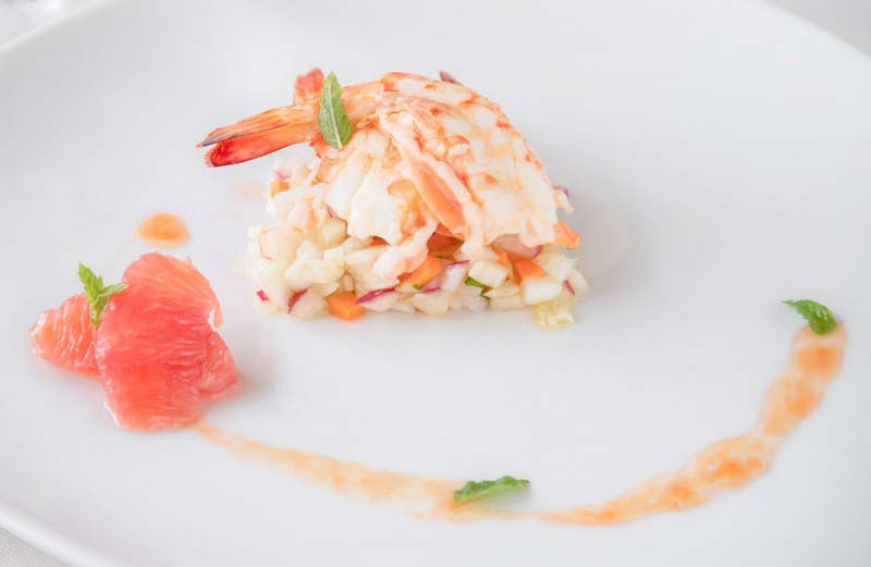 Marinated Prawns with pink pompelmus - Boccanegra Florence Restaurant